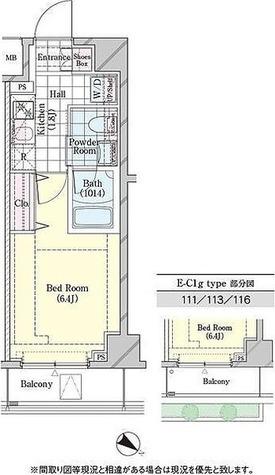 ディームス品川戸越 / E-C1gタイプ(22.51㎡) 部屋画像1