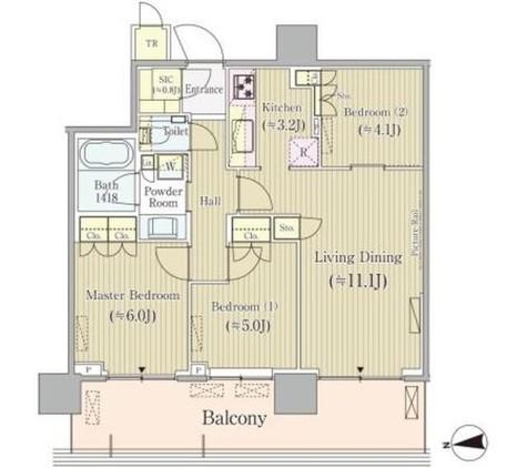 パークシティ中央湊ザタワー 2211 / 27階 部屋画像1
