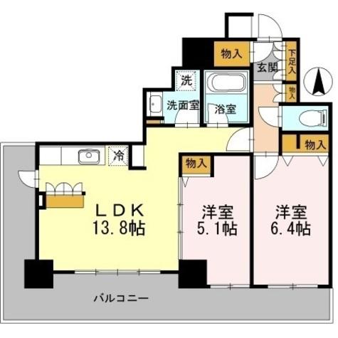 カスタリアタワー長堀橋 / 2LDK57.17㎡ 部屋画像1