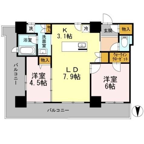 カスタリアタワー長堀橋 / 2LDK56.86㎡ 部屋画像1