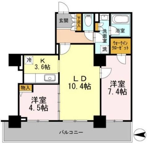 カスタリアタワー長堀橋 / 2LDK59.54㎡ 部屋画像1