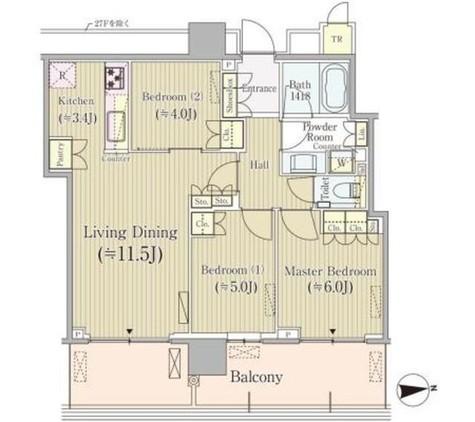 パークシティ中央湊ザタワー 2211 / 2308 部屋画像1