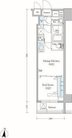 アーバネックス森下Ⅱ / 1DK(25.56㎡) 部屋画像1