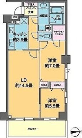 カスタリア高輪(旧ニューシティレジデンス高輪) / 2LDK(70.26㎡) 部屋画像1