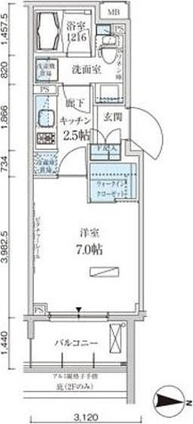 パークアクシス両国馬車通り / 1K(25.63㎡) 部屋画像1