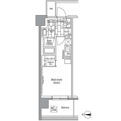 パークハビオ芝浦 / 1R'(25.20㎡) 部屋画像1
