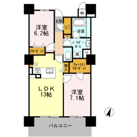 ロイヤルパークスERささしま / S-2LDK(63.35㎡) 部屋画像1