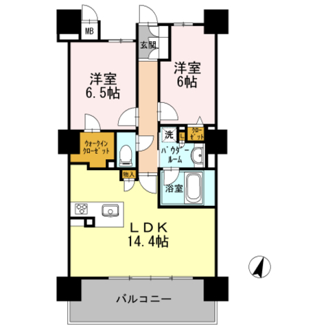 ロイヤルパークスERささしま / S-2LDK(62.97㎡) 部屋画像1