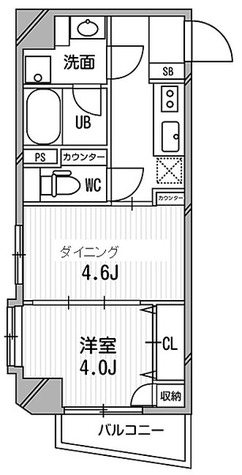 デュオステージ白金高輪 / 1DK(30.05㎡)角 部屋画像1