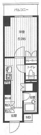 エスティメゾン川崎(旧:スペーシア川崎) / 8号室タイプ 部屋画像1