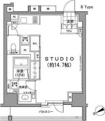 パークハビオ八丁堀 / ワンルーム(40.03㎡) 部屋画像1