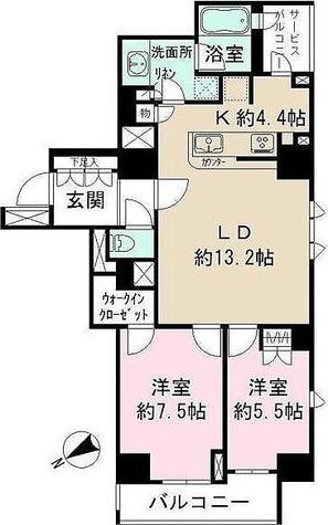 パークハビオ八丁堀 / 2LDK(70.56㎡) 部屋画像1