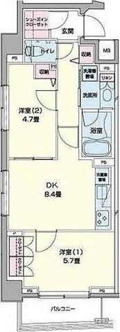 アーバンステージ日本橋浜町(旧エコロジー日本橋浜町公園レジデンス) / 2DK(49.39㎡) 部屋画像1