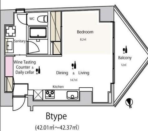 ワインアパートメント / 402 部屋画像1