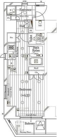 六本木 10分マンション / 1K(24.09㎡) 部屋画像1