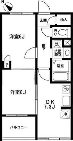 クレールコート芦花公園 / 2DK(45.86㎡) 部屋画像1