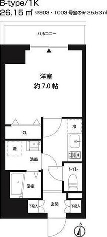 レオーネ錦糸町 / 1K(26.15㎡) 部屋画像1