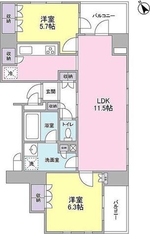 ニューシティアパートメンツ銀座イーストⅠ / 2LDK(61.59㎡) 部屋画像1