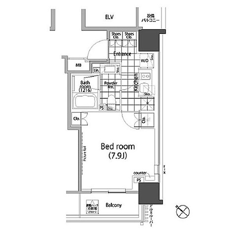パークハビオ赤坂タワー / 1K(27.22㎡) 部屋画像1