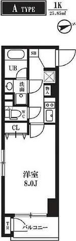 仮称)門前仲町レジデンス / 1K(25.85㎡) 部屋画像1