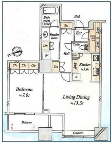 芝浦アイランドグローヴタワー / 1703 部屋画像1