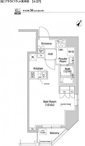 プラウドフラット東神田 / ワンルーム(30.12㎡) 部屋画像1
