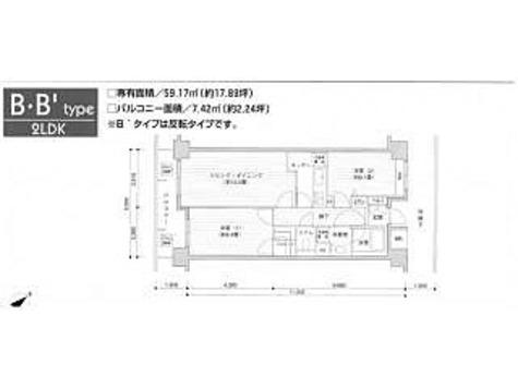 アレンダール目黒 / 2LDK(59.17㎡) 部屋画像1