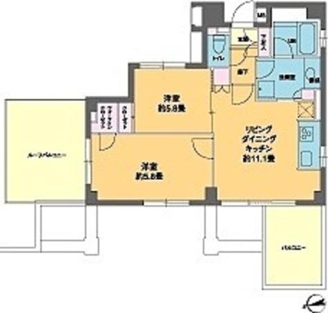 カスタリア高輪台Ⅱ(旧ニューシティレジデンス高輪台Ⅱ) / 2LDK(55.58㎡) 部屋画像1