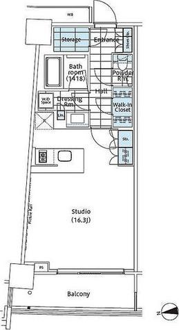 パークハビオ新宿イーストサイドタワー / ワンルーム(44.08㎡) 部屋画像1