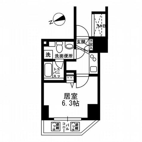 湯島 5分マンション / 1K(20.4㎡) 部屋画像1