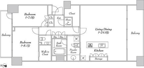 グレンパーク駒場EAST棟 / 2LDK(92.12㎡) 部屋画像1