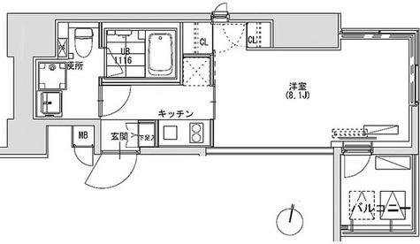 グランディオール広尾テラス(旧ベルファース広尾テラス) / 1K(25.78㎡) 部屋画像1