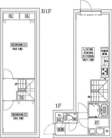 リーガランド神楽坂(LEGALAND KAGURAZAKA) / Amタイプ(62.54㎡) 部屋画像1