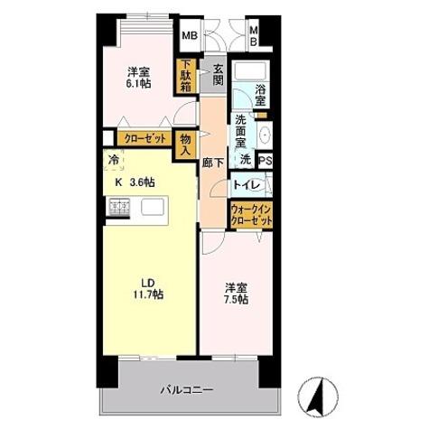 ロイヤルパークス若葉台 / 2LDK(68.1㎡) 部屋画像1