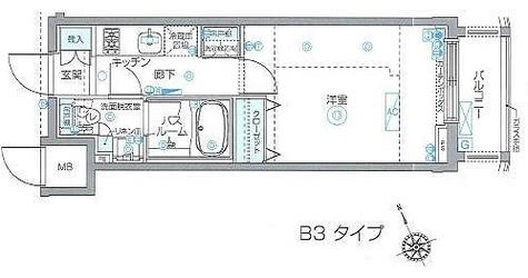 ZOOM Ebisu(ズーム恵比寿) / 1K(23.13㎡) 部屋画像1