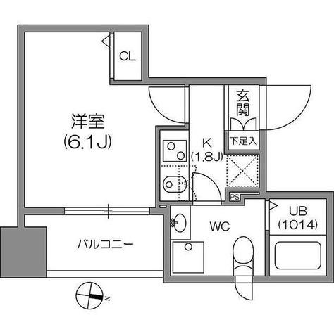 アジールコート中野坂上 / 1K(21.31㎡) 部屋画像1