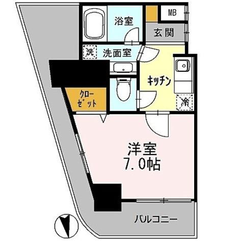 カスタリアタワー肥後橋 / 1K(25.01㎡) 部屋画像1