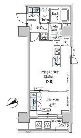 パークアクシス日本橋茅場町 / 1LDK(41.4㎡) 部屋画像1