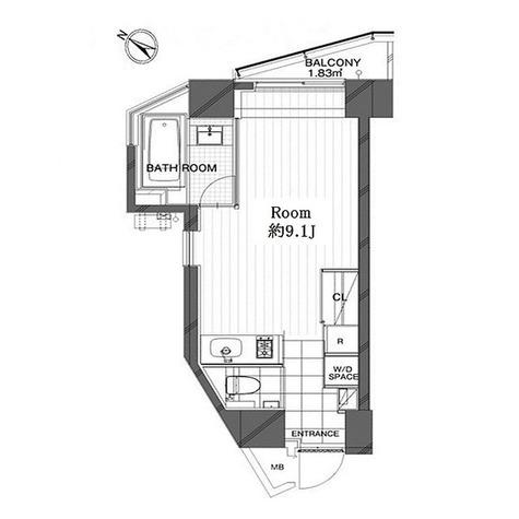 コートモデリア広尾 / 1K(29.51㎡) 部屋画像1