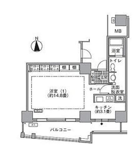 ラ・トゥール汐留 / 1K(50.16㎡) 部屋画像1
