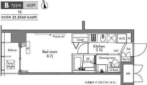 プラウドフラット隅田リバーサイド / 1K(21.57㎡) 部屋画像1