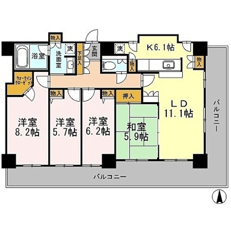 カスタリアタワー長堀橋 / 4LDK(96.41㎡) 部屋画像1
