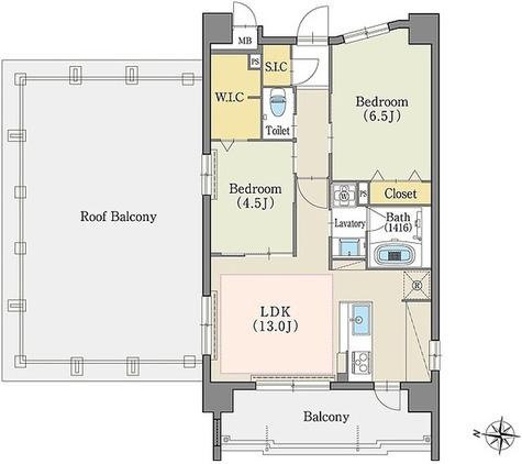 テラッツァ白壁 / 2LDK(58.36㎡)-R 部屋画像1