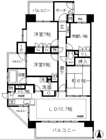 レジディア白壁東 / 4LDK(95.38㎡) 部屋画像1