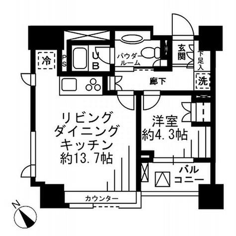 レジディア勝どき【旧:コスモグラシア勝どき】 / 1LDK(43.51㎡) 部屋画像1