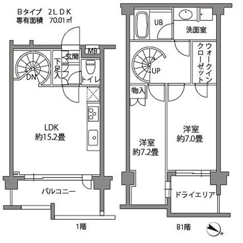 カスタリア八雲 / 2LDK(70.03㎡)-4 部屋画像1