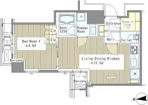 浜松町 3分マンション / 1LDK(43.66㎡) 部屋画像1
