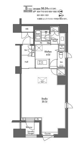 グラディート汐留ロッソ / Bタイプ(56.24㎡) 部屋画像1