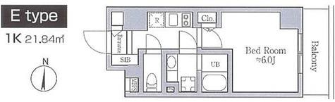レジディア南品川 / Eタイプ6.0J(21.84㎡) 部屋画像1
