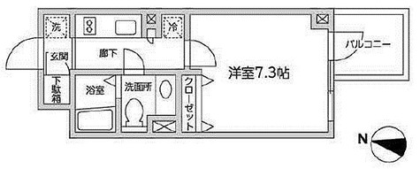 レジディア西新宿Ⅱ / 1K(24.67㎡) 部屋画像1